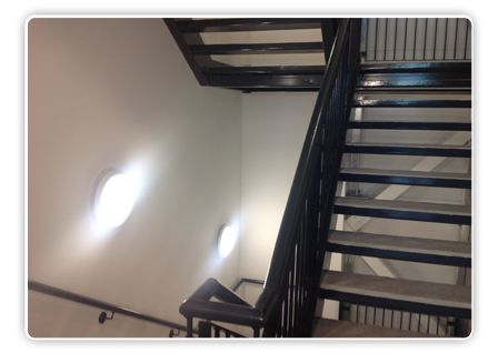The Amenity Decorative Halo offers a functional and eye-catching effect to stairwells.